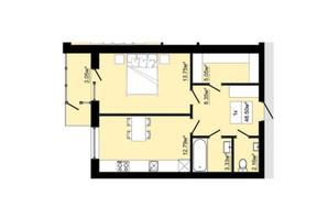 ЖК Затишний: планировка 1-комнатной квартиры 48.5 м²