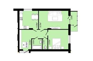 ЖК Затишний: планировка 2-комнатной квартиры 65.9 м²