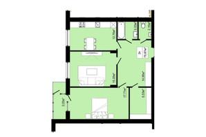 ЖК Затишний: планировка 2-комнатной квартиры 75.87 м²