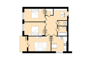 ЖК Затишний: планировка 3-комнатной квартиры 85.68 м²