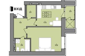 ЖК Затишний двір: планування 1-кімнатної квартири 43.25 м²