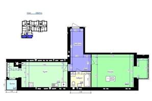 ЖК Збруч: планування 1-кімнатної квартири 63 м²