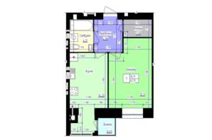 ЖК Збруч: планування 1-кімнатної квартири 41.11 м²