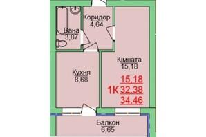 ЖК Зелена оаза: планування 1-кімнатної квартири 34.46 м²