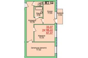 ЖК Зелена оаза: планування 2-кімнатної квартири 67.37 м²