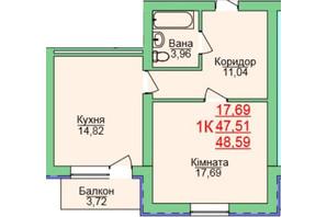 ЖК Зеленый оазис: планировка 1-комнатной квартиры 48.59 м²