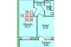 ЖК Зеленый оазис: планировка 1-комнатной квартиры 34.5 м²