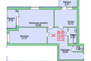 ЖК Зеленый оазис: планировка 2-комнатной квартиры 77.72 м²
