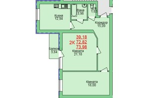 ЖК Зеленый оазис: планировка 2-комнатной квартиры 73.98 м²