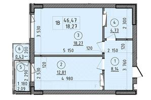 ЖК Зенит: планировка 1-комнатной квартиры 46.06 м²