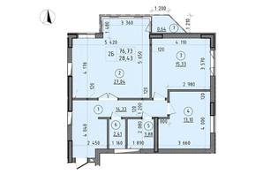 ЖК Зенит: планировка 2-комнатной квартиры 76.73 м²