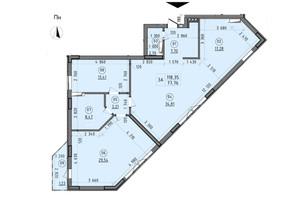 ЖК Зенит: планировка 3-комнатной квартиры 118.35 м²