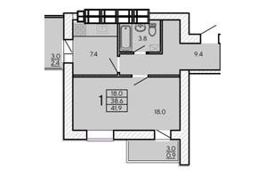 ЖК ZerNova: планування 1-кімнатної квартири 41.9 м²