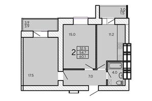 ЖК ZerNova: планування 2-кімнатної квартири 60.1 м²