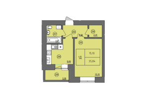 ЖК Жасмін: планування 1-кімнатної квартири 34.98 м²