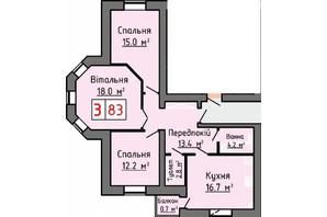 ЖК Железнодорожная: планировка 3-комнатной квартиры 83 м²