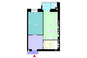 ЖК Жемчужины Корбутовки: планировка 1-комнатной квартиры 48.3 м²