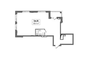 ЖК Жовтневый: планировка 2-комнатной квартиры 68.4 м²