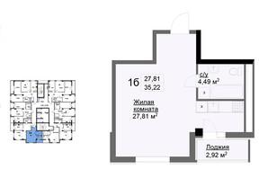 ЖК Журавли: планировка 1-комнатной квартиры 35.22 м²