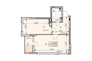 ЖК Зіркова Вежа: планировка 1-комнатной квартиры 47.56 м²