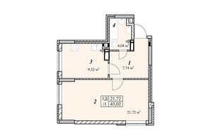 ЖК Зіркова Вежа: планировка 1-комнатной квартиры 43.02 м²