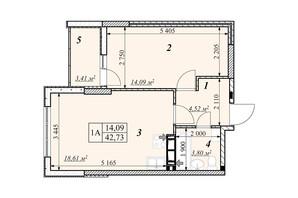 ЖК Зіркова Вежа: планировка 1-комнатной квартиры 42.73 м²