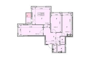 ЖК Зіркова Вежа: планировка 3-комнатной квартиры 95.13 м²