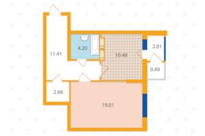 ЖК «Злагода»: планировка 1-комнатной квартиры 50.26 м²