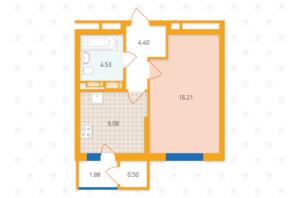 ЖК «Злагода»: планировка 1-комнатной квартиры 36.6 м²