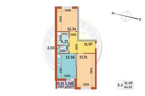 ЖК Злагода: планировка 2-комнатной квартиры 64.03 м²