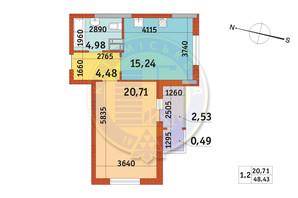 ЖК Злагода: планировка 1-комнатной квартиры 48.43 м²