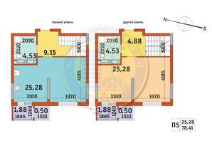 ЖК Злагода: планировка 1-комнатной квартиры 78.41 м²