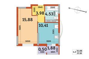 ЖК Злагода: планировка 1-комнатной квартиры 37.18 м²