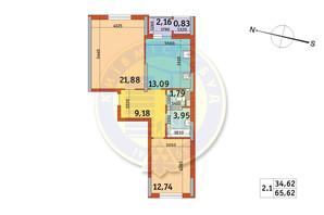 ЖК Злагода: планировка 2-комнатной квартиры 65.62 м²