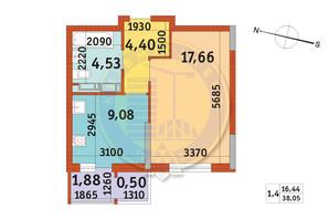 ЖК Злагода: планировка 1-комнатной квартиры 38.05 м²