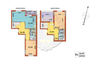 ЖК Злагода: планировка 2-комнатной квартиры 107.05 м²
