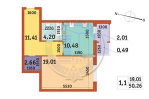 ЖК Злагода: планировка 1-комнатной квартиры 50.26 м²