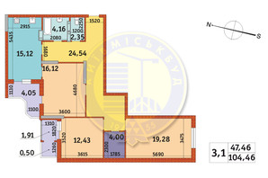 ЖК Злагода: планировка 3-комнатной квартиры 104.46 м²