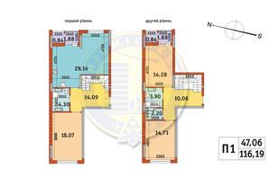 ЖК Злагода: планировка 2-комнатной квартиры 116.19 м²