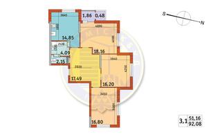 ЖК Злагода: планировка 3-комнатной квартиры 92.08 м²