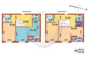 ЖК Злагода: планировка 3-комнатной квартиры 132.99 м²