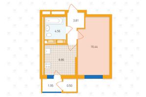 ЖК «Злагода»: планировка 1-комнатной квартиры 36.12 м²