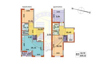 ЖК Злагода: планування 2-кімнатної квартири 109.12 м²