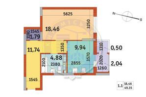 ЖК Злагода: планування 1-кімнатної квартири 49.35 м²