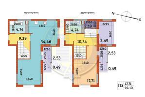 ЖК Злагода: планування 1-кімнатної квартири 92.1 м²
