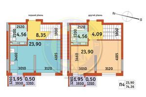 ЖК Злагода: планування 1-кімнатної квартири 74.26 м²