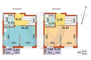 ЖК Злагода: планування 1-кімнатної квартири 76.52 м²