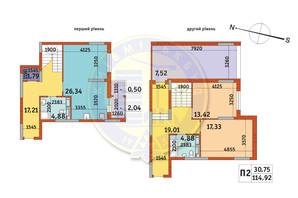 ЖК Злагода: планування 2-кімнатної квартири 114.92 м²