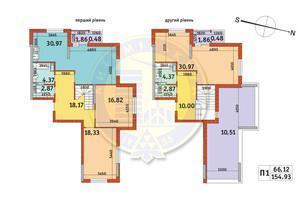ЖК Злагода: планування 3-кімнатної квартири 154.93 м²