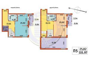 ЖК Злагода: планування 2-кімнатної квартири 115.97 м²
